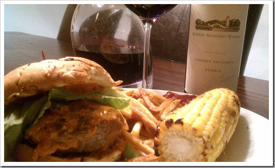Burgers with Peanut-Chipotle Barbecue Sauce Paired with Robert Mondavi Cabernet Reserve 2006