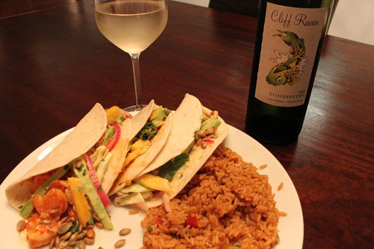 Cliff Raven Torrontes Paired with Shrimp Tacos with Pickled-Red-Onion Salad
