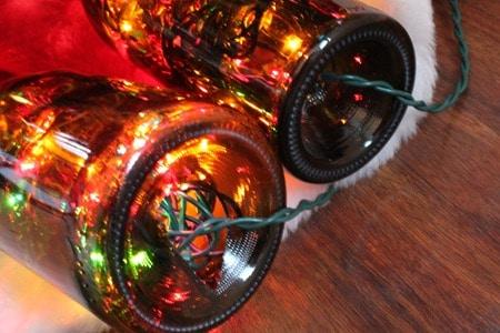 Wine Bottle Christmas Light - Threading the Lights Through