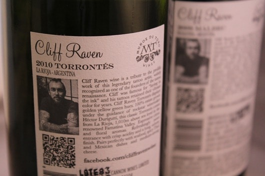 Cliff Raven Torrontes - QR Code is the small pixelated box toward the bottom left of the photo