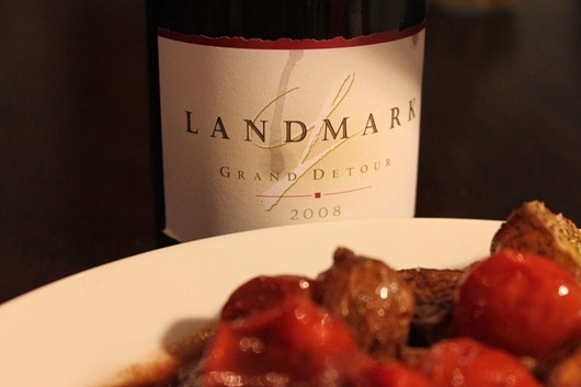 Braised Duck with Pinot Noir, Cherry Tomatoes and Grapes Paired with Landmark Vineyards Grand Detour Pinot Noir
