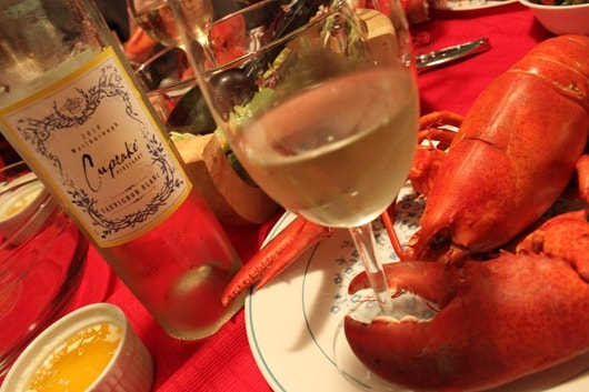 Lobsters paired with Cupcake New Zealand Sauvignon Blanc