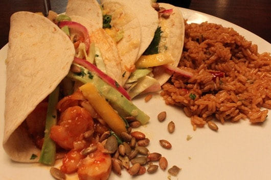 Shrimp Tacos with Pickled-Red-Onion Salad