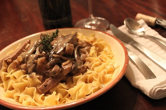 Coriander Dusted Roast Beef Stroganoff with Biltmore Century Red Wine