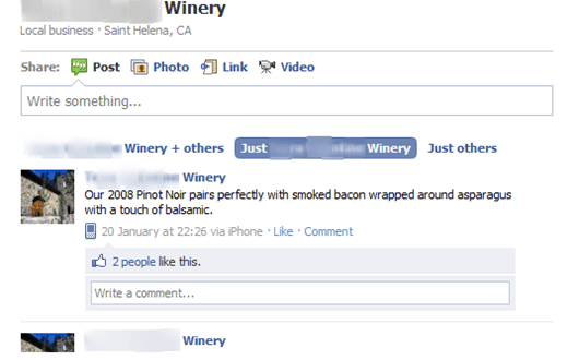 Winery Facebook Page - Not So Engaging!