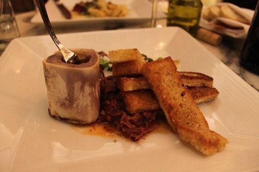 Veal marrow bone, brioche, crispy sweet breads and shank ragout -  - Talisker on Main
