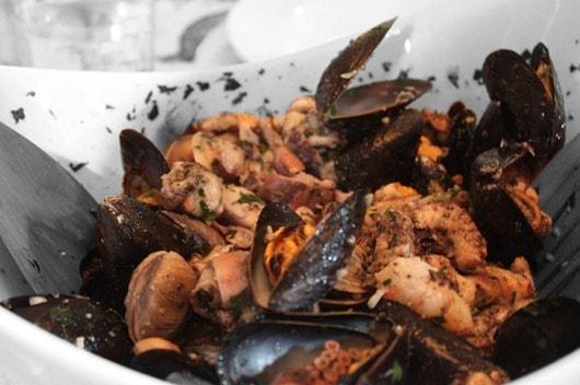 Seafood salad, made-up of mussels, clams, octopus, calamari and shrimp.