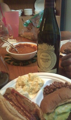 Masi Amarone with Chili Dogs on Memorial Day.