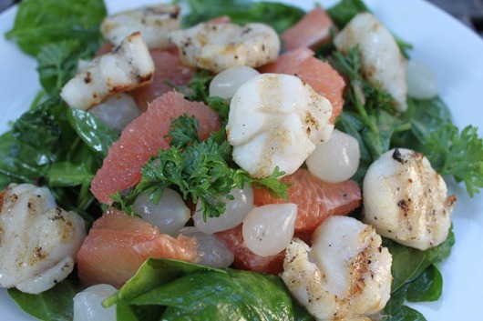 Scallops with Grapefruit-Onion Salad (2)