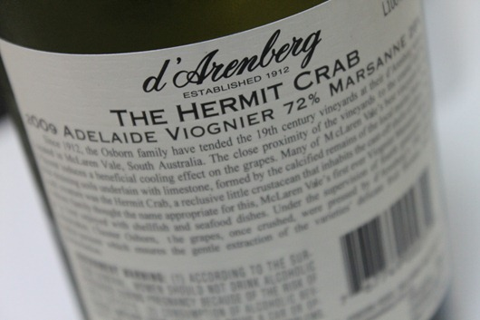 d'Arenberg The Hermit Crab Viognier Marsanne Adelaide 2009 - Back Label