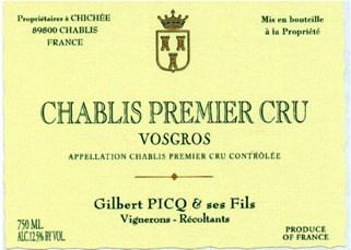 2009 Domaine Gilbert Picq Chablis 1er Cru Vosgros