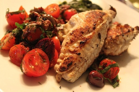 Sea Bass with Tomato and Black Olive Salsa..